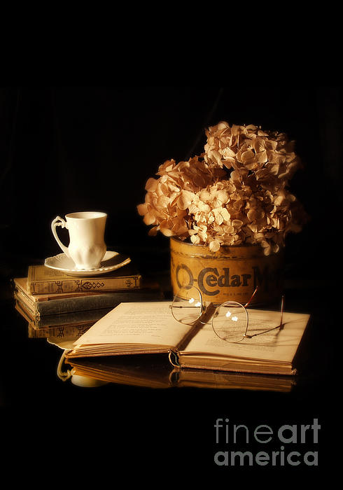 Jill Battaglia - Still Life with Hydrangea and Books