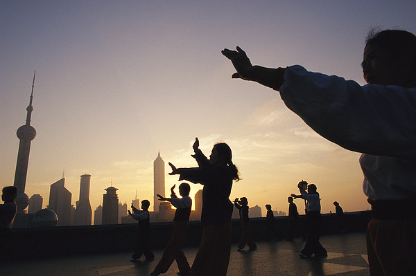 Tai Chi On The Bund In The Morning Photograph  - Tai Chi On The Bund In The Morning Fine Art Print