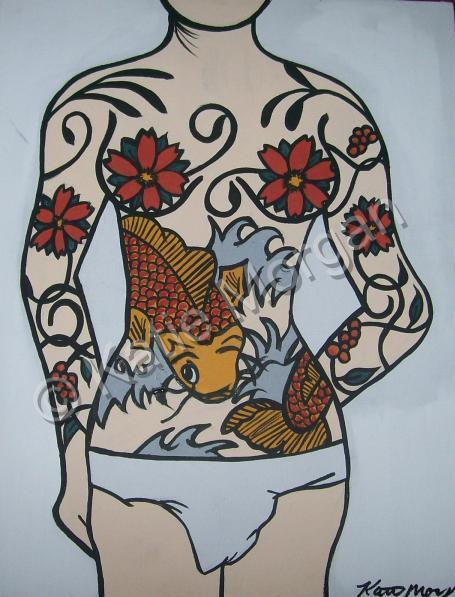 tattoo paintings, coy fish paintings, flowers paintings