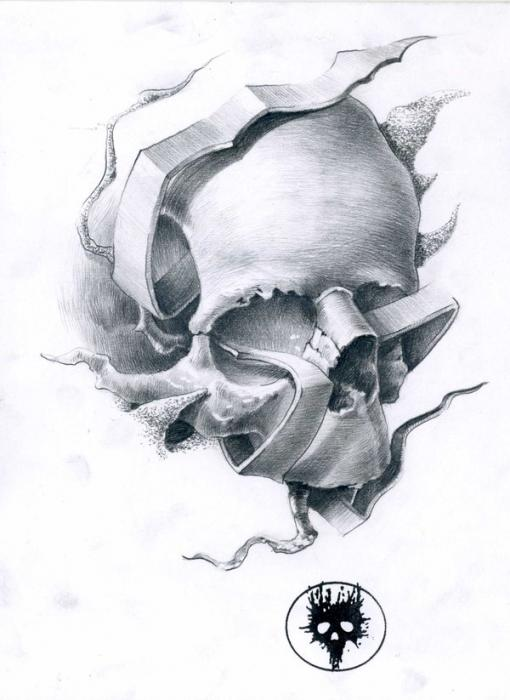 Tattoo Skull Drawing by MOTH Simeonov