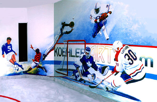 Team Sports Mural Painting  - Team Sports Mural Fine Art Print