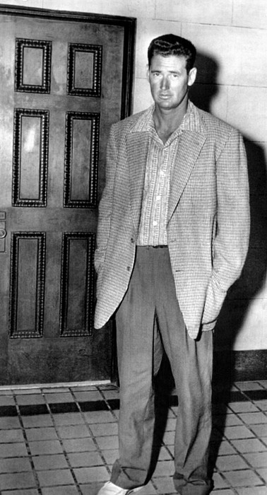 1950s Candids Photograph - Ted Williams Outside A Miami Court Room by Everett