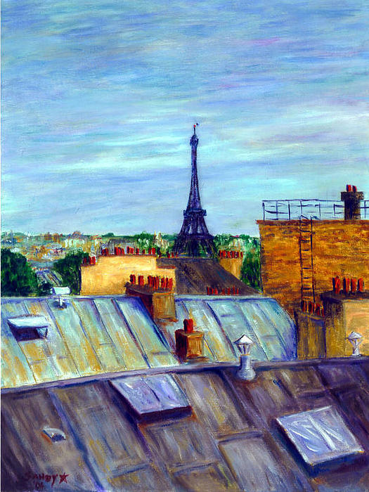 The Eiffel Tower Painting by Sandy Starr Eiffel Tower Painting Landscape