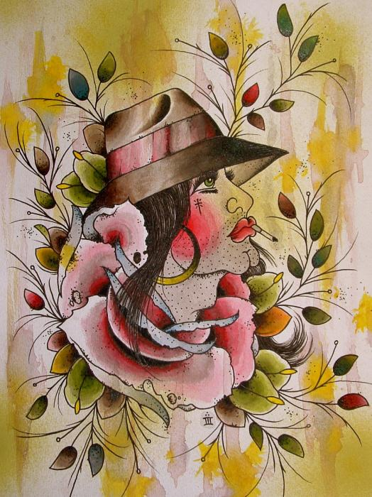 flash tattoo leaves rose fedora cigarette cholo watercolor paintings