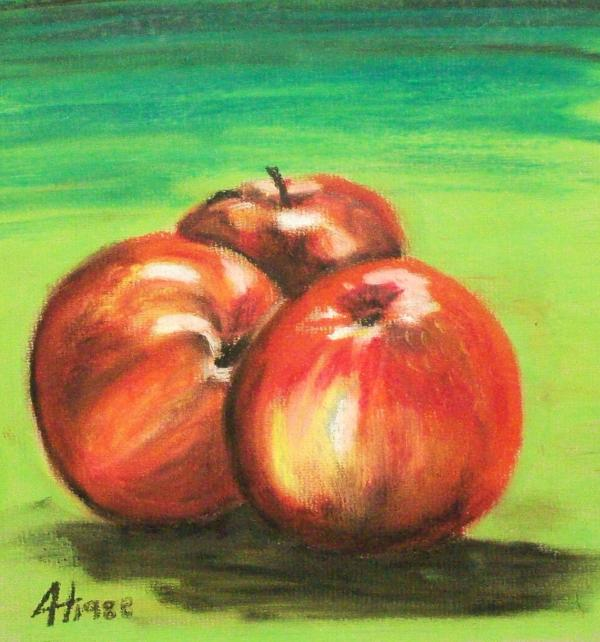 Three Red Apples Painting - Three Red Apples Fine Art Print