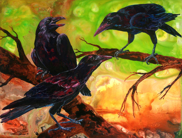 Threes a Crows Painting  - Threes a Crows Fine Art Print