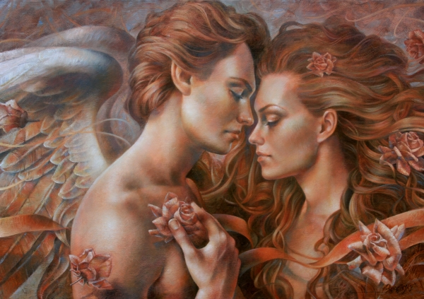 Touched by Angel Painting  - Touched by Angel Fine Art Print