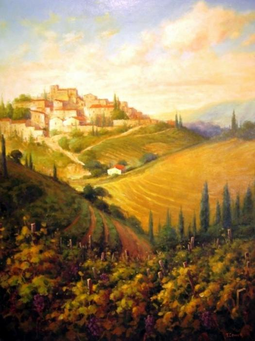 vineyard tuscany italy autumn fall paintings