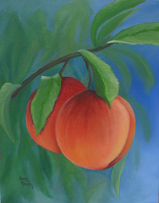 Peach Painting - Two Peaches by Mary Rogers