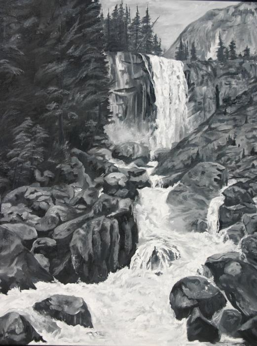 Vernal Falls Black and White Painting - Vernal Falls Black and White Fine