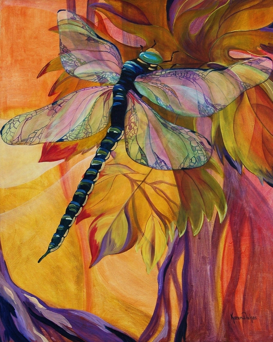Vineyard Fantasy Painting by Karen Dukes. Tags: dragonfly paintings