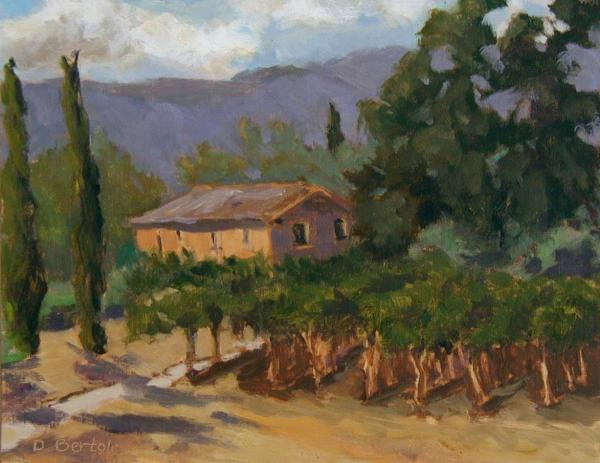 Vineyards - Tuscany Italy Painting by Deborah Bertola