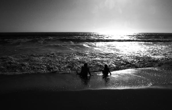 photography children black and white beach ocean sunset photographs,
