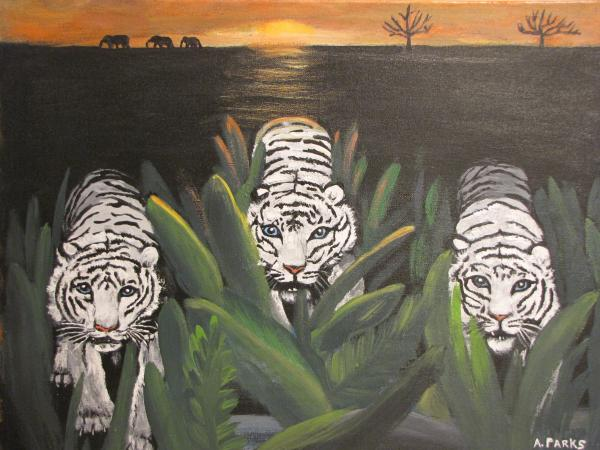 White Tiger Encounter Painting - White Tiger Encounter Fine Art Print