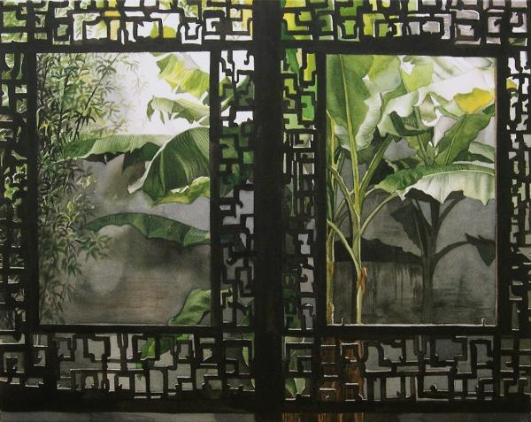 Window with bamboo and banana plant Painting  - Window with bamboo and banana plant Fine Art Print