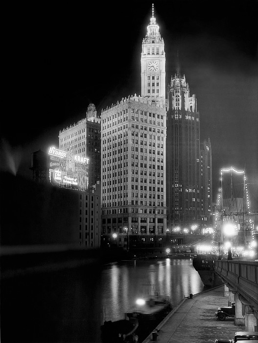 Wrigley And Tribune Buildings Photograph