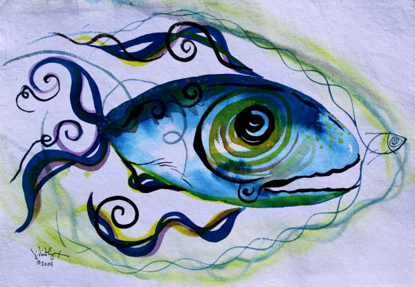 Paintings Painting - Wtfish 009 by J Vincent Scarpace