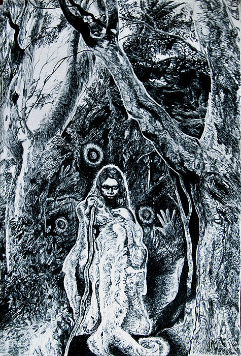 Helen Duley - Young Aboriginal Woman and River Red Gum
