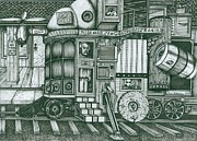 Montgomery Drawings Prints -   A Traveling Cabinet of Curiosities Print by Richie Montgomery