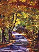 Roads Paintings -  Autumn Road by  David Lloyd Glover