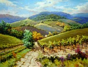 Grapevines Paintings -  Autumn Wine Country Tuscany by David Kim