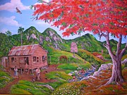 Puerto Rico Paintings -  Casita de campo by Jose Lugo
