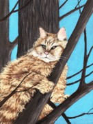 Brown Hair Pastels Posters -  Cat on a Tree Poster by Anastasiya Malakhova