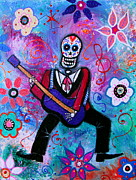 Bride And Groom Paintings -  Dia De Los Muertos Musician by Pristine Cartera Turkus