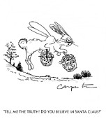 Humorous Greeting Cards Drawings -  Easter Bunny Truth  by Kenneth Carpenter