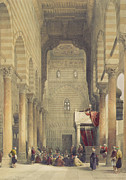 Preacher Prints -  Interior of the Mosque of the Metwalys Print by David Roberts