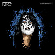 Makeup Drawings Posters -  Kisss Ace Frehley Poster by David E Wilkinson