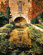 Gardenscape Paintings -  Lily Pond And Fountain by  David Lloyd Glover