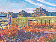 Fences Paintings -  Old Post Gate by David Lloyd Glover