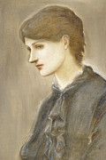 Negative Paintings -  Portrait of Mrs William J Stillman nee Marie Spartali by Sir Edward Coley Burne Jones
