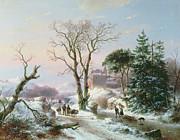 Andreas Schelfhout -  Wooded winter river landscape