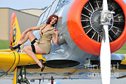 Lace Dress Prints - 1940s Style Pin-up Girl Posing On A T-6 Print by Christian Kieffer