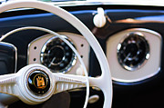 1951 Metal Prints - 1951 Volkswagen VW Beetle Cabriolet Steering Wheel Emblem Metal Print by Jill Reger