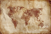Old Map Digital Art Framed Prints - Aged World Map On Dirty Paper Framed Print by Evgeny Kuklev