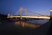 London Scenes Prints - Albert Bridge at night  Print by David French