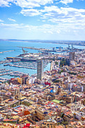 Sea View Pyrography Framed Prints - Alicante panoramic view Framed Print by Dragomir Nikolov