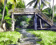 Greenery Framed Prints - An old stone bridge over a canal in Alleppey Framed Print by Ashish Agarwal