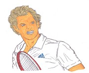 French Open Drawings Posters - Andy Murray Poster by Steven White