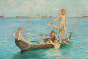 Children At Beach Posters - August Blue Poster by Henry Scott Tuke