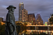 Austin Downtown Framed Prints - Austin Framed Print by Christian Heeb