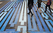 Crosswalk Prints - Blue Crosswalk Print by Setsiri Silapasuwanchai