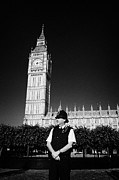 Bobby Hat Posters - british metropolitan police office guarding the houses of parliament London England UK Poster by Joe Fox