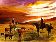 Western Paintings - Cattle Drive by Patrick Rahming