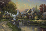 England Framed Prints - Cobblestone Bridge Framed Print by Thomas Kinkade