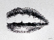 Humans Drawings Prints - Dangerous Lips Print by Josef Putsche