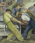 Industrial Paintings - Detroit Industry  north wall by Diego Rivera